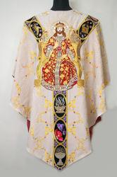 Immagine di Casula Collo tondo Gallone motivo floreale Cristo Re simboli religiosi Tela Vaticana Avorio Rosso Verde Viola