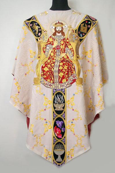 Imagen de Casulla Cuello Redondo bordado galón patrón floral, Cristo Rey Símbolos religiosos Lona Vaticana Marfil Rojo Verde Violeta