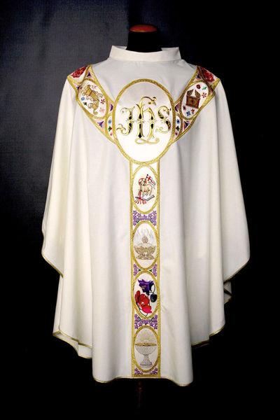 Immagine di PERSONALIZZATA Casula Collo ad Anello Gallone applicato motivo JHS Simboli religiosi Tela Vaticana Avorio Rosso Verde Viola