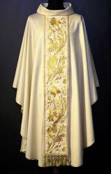 Immagine di Casula Collo ad Anello Stolone in lamiglia motivo floreale Tela Vaticana Avorio Rosso Verde Viola