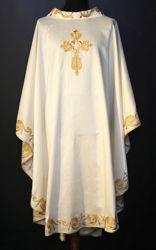 Immagine di Casula Collo ad Anello ricamo ramage diretto Croce Tela Vaticana Avorio Rosso Verde Viola