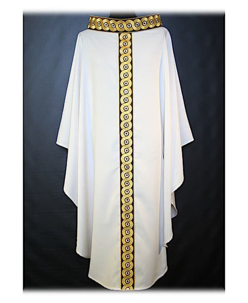 Picture of Chasuble Ring Neck Stolon and Collar in Dupion geometric pattern Vatican Canvas Ivory Red Green Violet