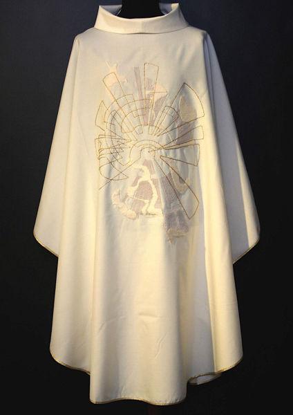 Immagine di Casula moderna Collo ad Anello ricamo diretto moderno Tela Vaticana Avorio Rosso Verde Viola