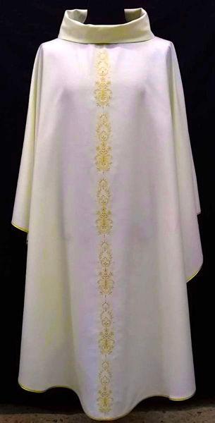 Immagine di Casula Collo ad Anello ricamo diretto motivo floreale Tela Vaticana Avorio Rosso Verde Viola