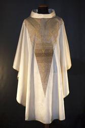 Immagine di Casula moderna Collo ad Anello ricamo diretto Spighe Tela Vaticana Avorio