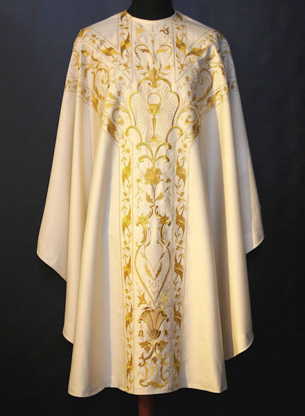 Picture of Collarless Chasuble with floral and chalice embroidery pure Wool  Ivory, Red, Green, Violet