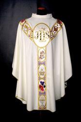 Immagine di PERSONALIZZATA Casula Collo ad Anello Gallone applicato motivo JHS Simboli religiosi pura Lana Avorio Rosso Verde Viola