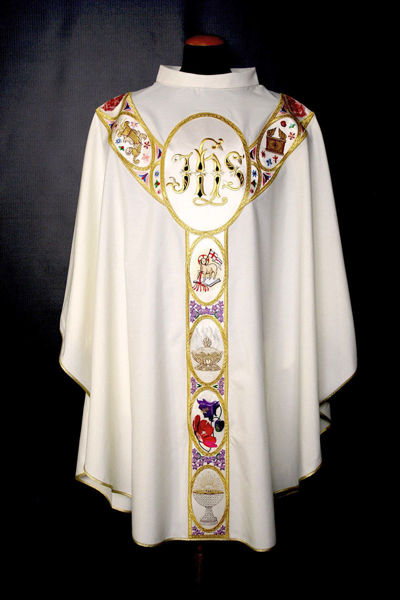 Picture of CUSTOMIZED Chasuble Ring Neck Galloon JHS religious symbols pure Wool Ivory, Red, Green, Violet