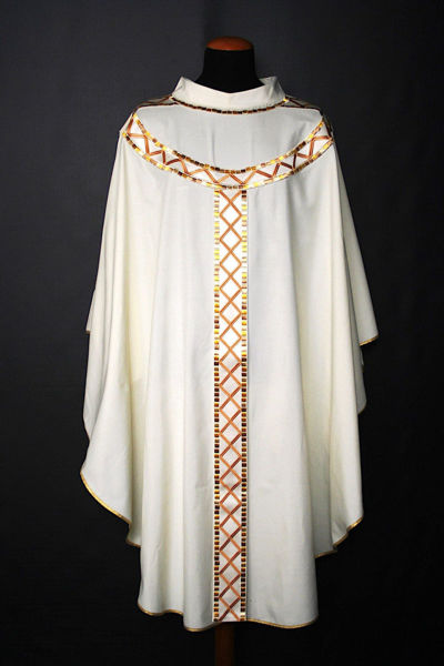 Picture of Chasuble Ring Neck Satin Stolon and Collar Geometric pattern and Mosaic pure Wool Ivory Red Green Violet