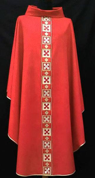Imagen de Casulla Cuello Anillo, bordado directo patrón geométrico Lana pura Marfil Rojo Verde Violeta
