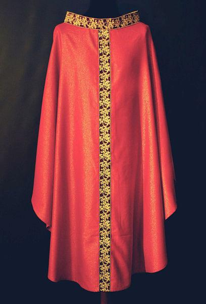Immagine di Casula Collo ad Anello Stolone e Collo in Dupion motivo floreale in Orolana Avorio Rosso Verde Viola