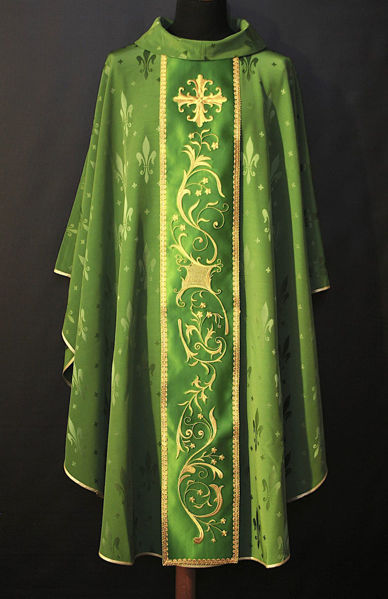 Picture of Chasuble Ring Neck Satin Stolon Floral and Lily Cross Damascus fabric Ivory, Red, Green, Violet