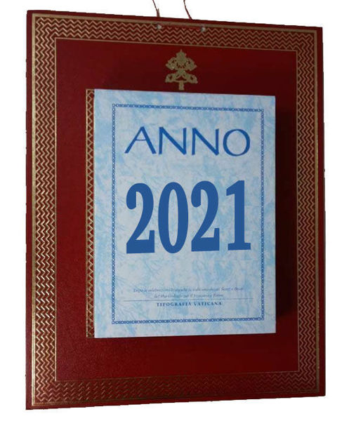 Picture of Daily wall / desk block calendar 2021 tear off pages Tipografia Vaticana Vatican Typography