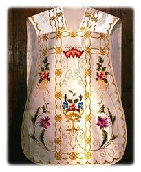 Immagine di Pianeta Romana Collo a trapezio Ricamata Disegno floreale Lamiglia Bianco Rosso Verde Viola