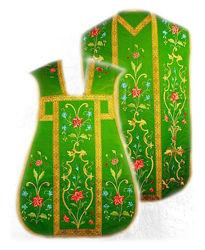 Immagine di Pianeta Romana Collo a trapezio Ricamata Filato oro e colore Disegno floreale Gallone oro Raso Bianco Rosso Verde Viola