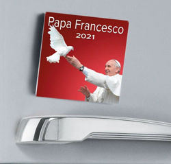 Picture of Pope Francis 2021 magnetic calendar cm 8x8 (3,1x3,1 in)