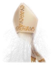 Immagine di Mitria Liturgica Ricamata Filato Oro Argento Raso Bianco