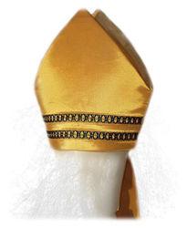 Immagine di Mitria Liturgica Ricamata Filato Oro Colore Perline Raso Oro