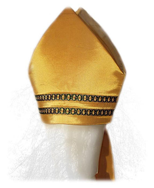 Picture of Liturgical Mitre Gold and Colors Embroidery Gold Beads Satin Gold