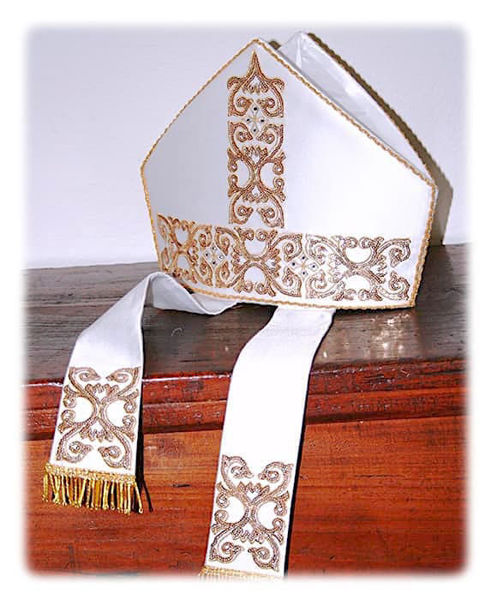 Picture of Liturgical Mitre Gold Sequins Embroidery Crystal Rhinestones Satin White
