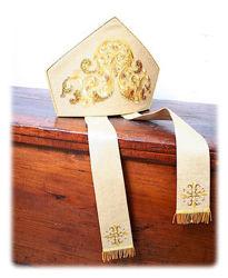 Immagine di Mitria liturgica Stile Moderno Disegno Ramage Filato Oro Paillettes Raso