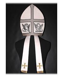 Immagine di Mitria liturgica Paolo VI Filato Oro Colore Croce Shantung