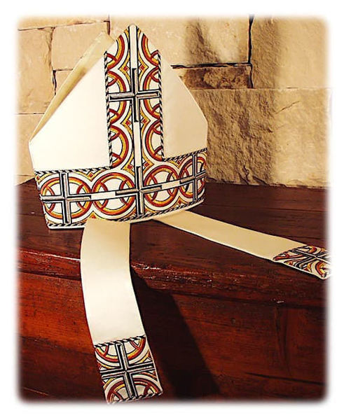 Picture of Liturgical Mitre Cross Geometric Pattern Gold and Color Yarn Satin White