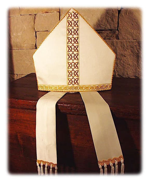 Picture of Liturgical Mitre Celtic Pattern Gold and Color Yarn Satin White