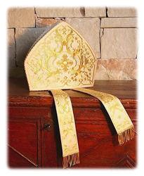 Immagine di Mitria Liturgica Disegno classico Ramage Oro Lamiglia Bianco