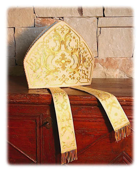 Picture of Liturgical Mitre Classic Pattern Gold Ramage Laminate White