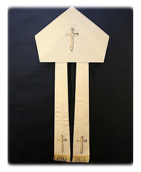 Imagen de Mitria litúrgica Forma Moderna Adornos Bordados Oro y Colores Shantung Blanco