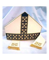 Immagine di Mitria Liturgica Disegno Moderno Gallone Ricamato a Crocette Oro Shantung Bianco