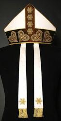 Immagine di Mitria Liturgica Stile Moderno Filigrana Gallone Ricamato Oro Lametta Paillettes Strass Shantung Bianco