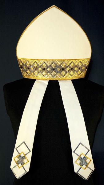 Picture of Liturgical Mitre Geometric Pattern Gold Gallon Rhinestones Vatican Canvas White