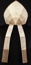 Immagine di Mitria Liturgica Stile Moderno Applicazione Degradée Tela Vaticana Bianco
