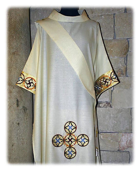 Picture of Dalmatic Geometric Embroidery Orolana White Red Green Violet Gold Light Blue