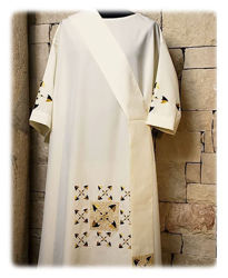 Picture of Dalmatic Geometric Embroidery Vatican Canvas White Red Green Violet Gold Light Blue