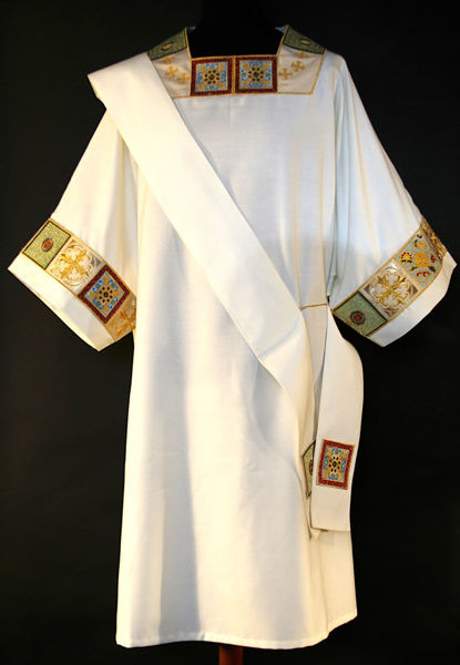 Picture of Dalmatic Geometric Embroidery Laminate Shantung White Red Green Violet Gold Light Blue