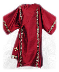 Picture of Dalmatic Ramage Embroidery Spikes Grapes Shantung White Red Green Violet Gold Light Blue
