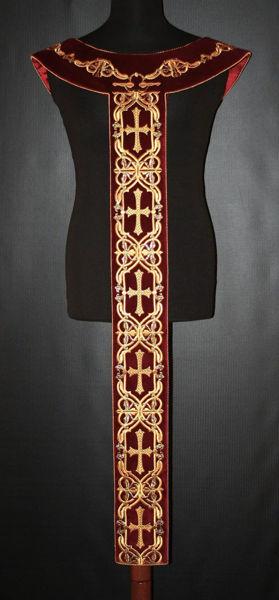 Picture of Liturgical Pallium Cross Pattern Velvet White Red Green Violet Gold Light Blue