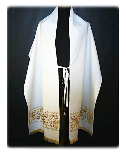 Picture of Humeral Veil Geometric Embroidery Gold Fringe Vatican Canvas White Red Green Violet Gold Light Blue