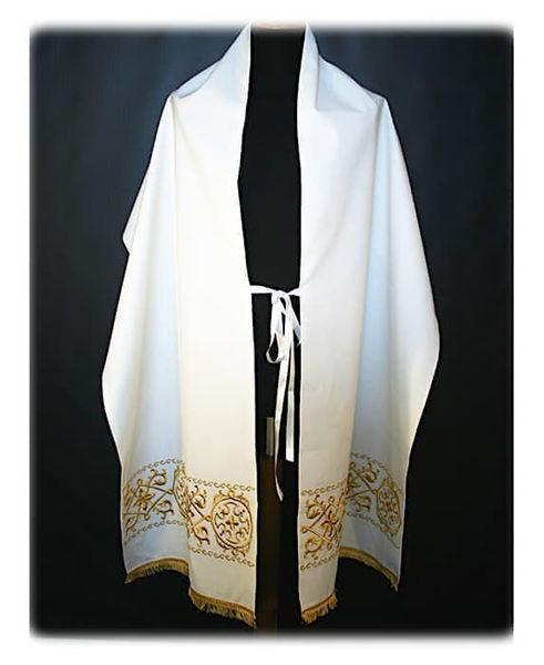 Immagine di Velo Omerale Ricamo Geometrico Frangia Oro Tela Vaticana Bianco Rosso Verde Viola Oro Azzurro