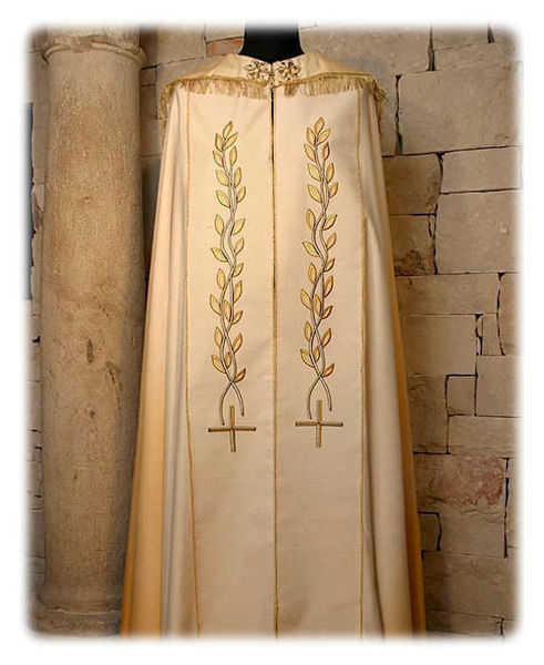 Picture of Liturgical Diaconal Cope Olive Branches and Cross Embroidery Shantung White Red Green Violet Gold Light Blue