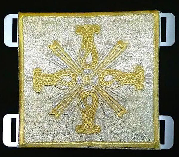Immagine di Fermaglio di piviale Acciaio Ricamato Oro Sablé