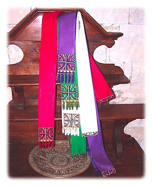 Picture of Modern Stole Cross Satin White Red Green Violet