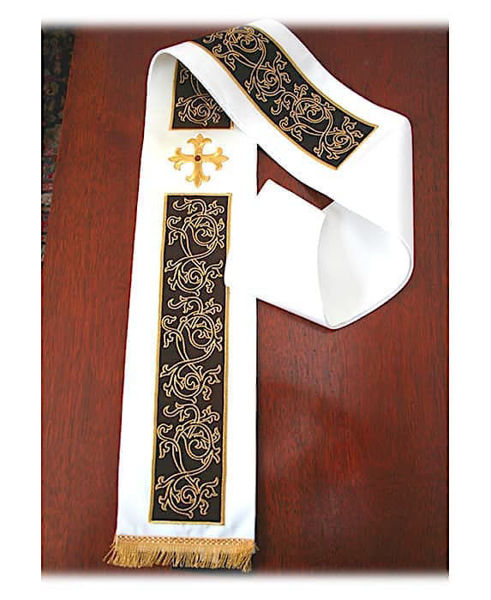 Picture of Modern Stole Ramage Embroidery Crosses Red Rhinestones Satin White Red Green Violet