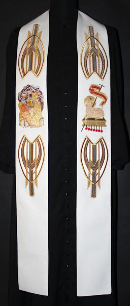 Immagine di Stola Moderna Ricamo Agnello Gesù Apostoli Tela Vaticana Bianco Rosso Verde Viola