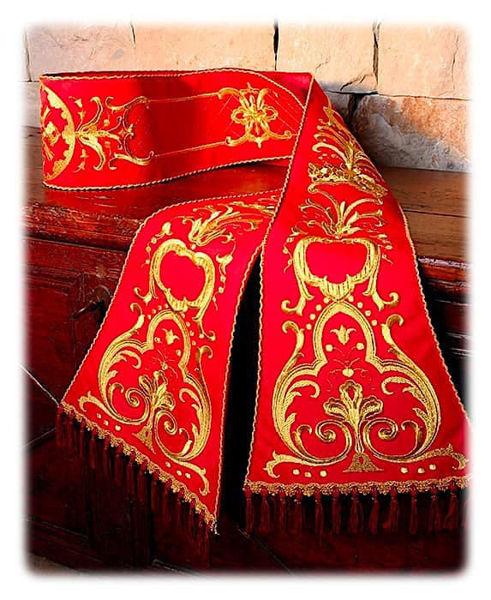 Immagine di Stola Romana Ricamo Oro Tela Vaticana Bianco Rosso Verde Viola