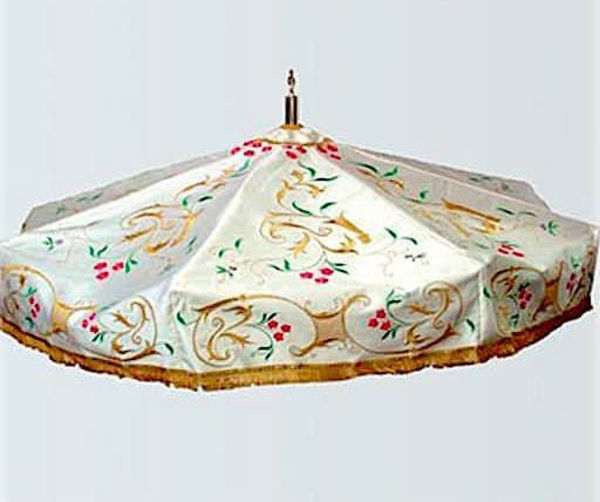 Picture of Processional Umbrella Embroidery Satin White Red Green Violet