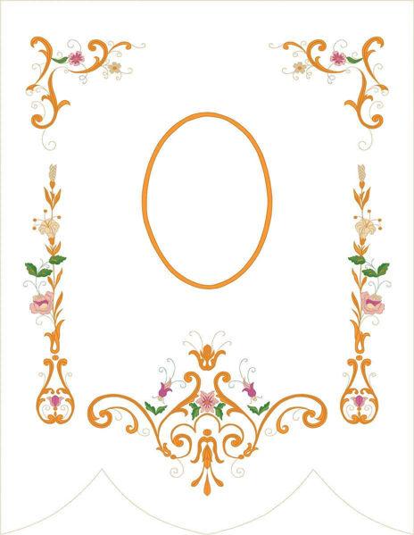 Imagen de PERSONALIZADO Estandarte Procesional cm 89x115 (35x45,3) Bordado Floral Oro y Colores Satén